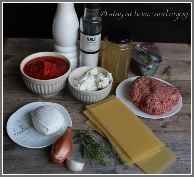 Zutaten One Pot Pasta - Lasagne - stay at home and enjoy