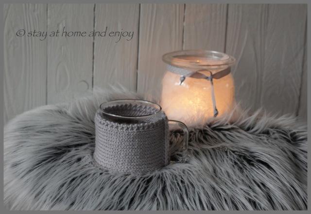 Becherwärmer gestrickt - stay at home and enjoy